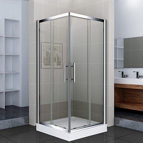Luxus4Home Duschkabine mit Duschtasse 90 x 90 x 195 cm Eck Dusche Schiebetür Sicherheitsglas (ESG)