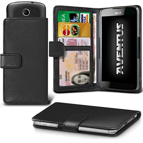 Aventus (Schwarze) Acer Liquid Z320 Premium-PU-Leder Universal Hülle Spring Clamp-Mappen-Kasten mit Kamera Slide, Karten-Slot-Halter und Banknoten Taschen