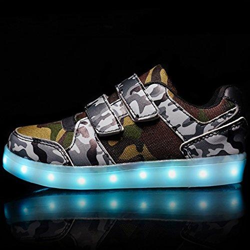 DoGeek Unisex Bambino Scarpe Con Luci Scarpe Led Luminosi Sneakers Con Luce Nella Suola Bright Tennis Shoes USB 7 Colori Lampeggiante Trainners Marrone