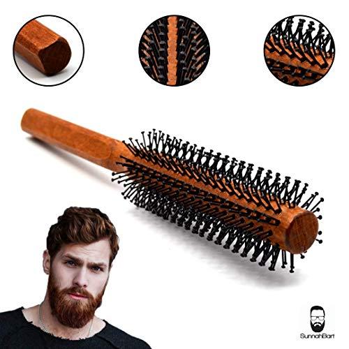 Männer Rundbürste 40 mm Ø für den Bart und kurze Haare | Bartbürste für den Mann | Föhnbürste mit speziellen Noppen | rund Haarbürste aus Holz …