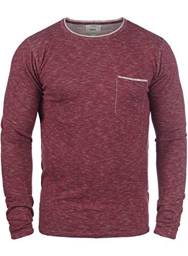 Redefined Rebel Maverick Herren Strickpullover Feinstrick Pullover Mit Rundhals Und Brusttasche Aus 100% Baumwolle, Größe:S, Farbe:Bordeaux