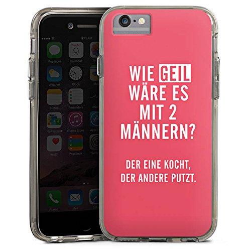 Apple iPhone 6 Bumper Hülle Bumper Case Glitzer Hülle Frauen Humor Phrases Bumper Case transparent grau