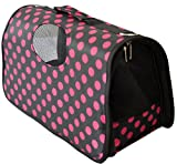 Pawzone Black with Pink Dots Cat/Dog Travelling Bag