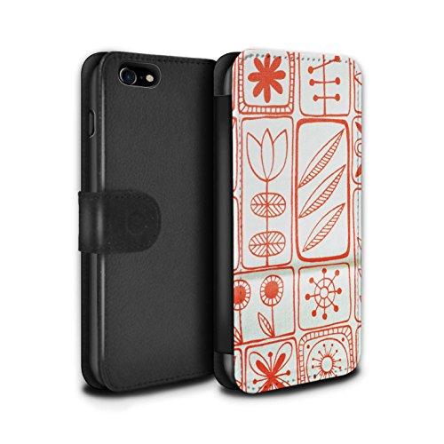 STUFF4 PU-Leder Hülle/Case/Tasche/Cover für Apple iPhone 8 Plus / Gelber Stoff Muster / Heimtextilien Kollektion Korallen Muster