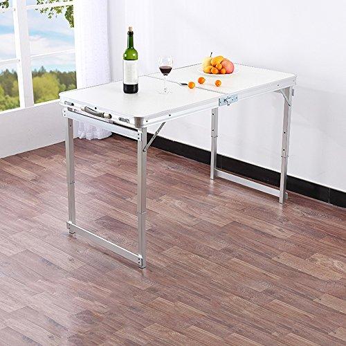 Couchtische HAIZHEN Multifunktions-Klapptisch-Imbiss-Quadrat-Tabelle für Abendessen-Tabellen-Regenschirm-Loch-Quadrat-Rohr 60 * 120CM im Freien Funktionstabelle (Farbe : Weiß) -