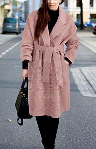 LQABW Inverno Nuovo Cappotto Di Lana Del Cashmere In Inverno Pink
