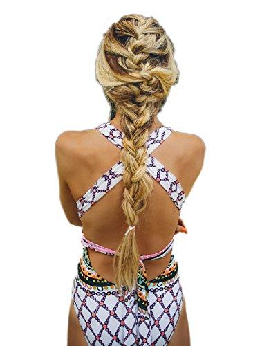 Summer Mae Frauen Badeanzug Tief V-Ausschnitt Gekreuzter Rückenbänder Monokini mit Druck Mehrfarbig