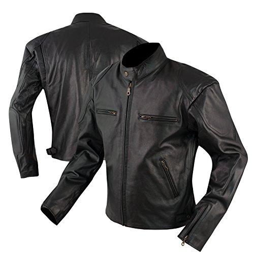 Giacca-Custom-Naked-Vintage-Moto-Pelle-Foderata-Tasche-per-Protezioni-Nero-M