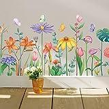 Wall Sticker Plant Foglie tropicali Parete Battiscopa Linea Decorazione Adesivo Pittura Autoadesiva Acquerello Dipinto a mano Stile Muro dipinto