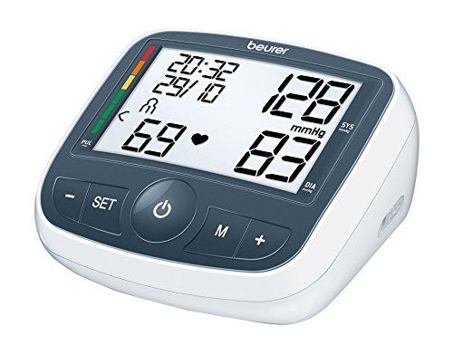 Beurer BM 40 - Tensiómetro de brazo con adaptador, indicador OMS, memoria 2 x 60 mediciones, color gris y blanco