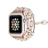 Solomo para Apple Watch Strap, moda brillante diamante de metal carcasa con elástico hecho a mano...