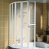 Schulte Duschwand Bien inkl. Handtuchhalter, 115x140 cm, 5-teilig faltbar, Sicherheits-Glas Querstreifen Dekor, Profilfarbe alpin-weiß, Duschabtrennung für Badewanne und Eckwanne