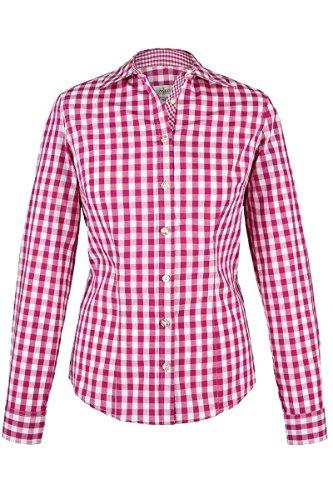Almsach Damen Trachten-Bluse pink-weiß kariert 'Maria', pink,