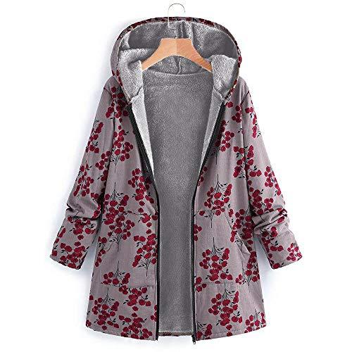 ZHANSANFM Frauen Langarm Baumwolljacke Blumendruck Trenchcoat Plus Größe Damen Mit Kapuze Baumwolle Leinen Flauschigen Pelz Reißverschluss Jacke Outwear Mäntel Übergangsjacke (L, rot)