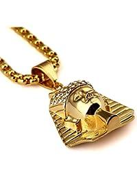 Hombre Chapado En Oro De Acero De Titanio De 18Kgold Egipto Faraón King Colgante Collares Moda hip hop
