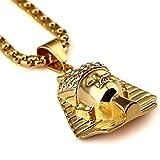 MCSAYS 18K Gold Titan Stahl Gold überzog Ägypten Pharao König hängende Halsketten Art und Hip Hop Herren