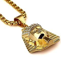 Idea Regalo - MCSAYS ciondoli placcati Oro Uomo 18K Titanio Acciaio Placcato Egitto Il Faraone re Modo collane del Pendente Hip Hop