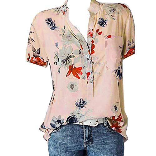 Mymyguoe Frauen Tops Damen Kurzarm Hemd mit großen Women Printing Plus Size Short Sleeve Blouse Easy Top T-Shirt Oberteile Tops Tasche Easy T-Shirt Pullover Bluse Sweatshirt [Rosa,S] - Plus Größe Mutterschaft Kleid Rosa