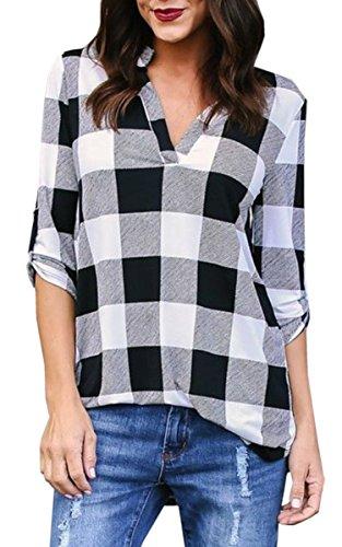 Angashion Women's Casual Plaid V Neck Roll Up Sleeve Loose Boyfriend Tops Blouse Shirt