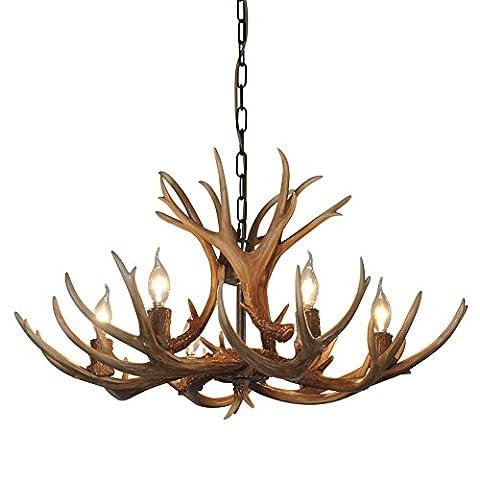 SDLighting® Deer Horn E14 BUlb 6-Light Iron Resin Industrial Retro Droplight Pendant lamp Ceiling lamp Ceiling light Chandelier Lighting Fixture for Restaurant Balcony Bedroom Coffee 1017C-6