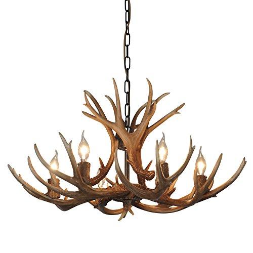 Shengdi corno di cervo 6-Light ferro industriale vintage lampadario a soffitto della lampada della lampada per Ristorante balcone Camera con paralume 1017C-6-1fr (Coffee) - Fuoco Olio