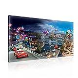 TapetoKids Leinwandbild Disney Cars - XXL - 100 x 75 cm - Komplettpaket! - fertig gerahmt und inklusive Aufhängung - hochwertige 230g/m² Leinwand auf Keilrahmen - kinderleichte Anbringung
