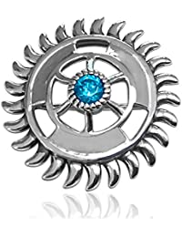 fourseven Brooch in 925 Sterling Silver with Blue Topaz | Sudarshan Chakra Brooch Unisex | Best Gift for Men and Women