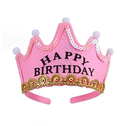 LUOEM Geburtstag Hut Papier Krone Hut Partyhüte mit LED Lichter für Kinder Happy Birthday (Rosa)