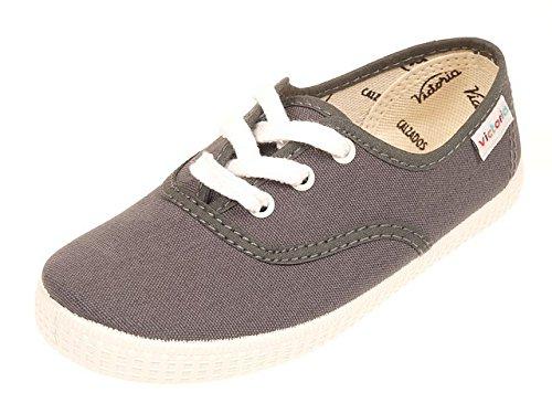 Victoria Inglesa Lona, Chaussures à lacets mixte adulte Gris Anthracite foncé