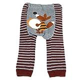 Leggings de laine de bébé et tout-petit par Dotty Fish - Rayures marron et gris avec Fox - Grand / 24+ mois