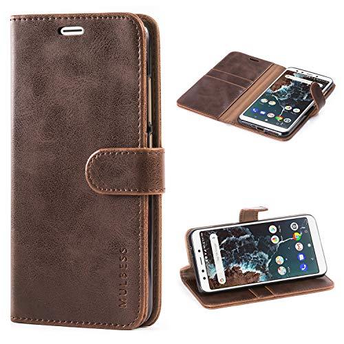 Mulbess Handyhülle für Xiaomi Mi A2 Hülle, Leder Flip Case Schutzhülle für Xiaomi Mi A2 Tasche, Vintage Braun