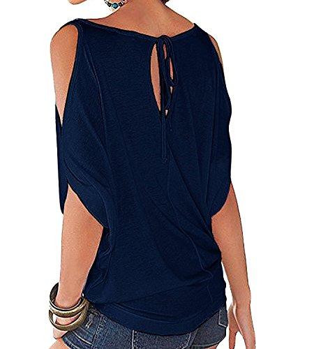 365-Shopping Japan Style von Damen Top T - Shirt Bluse Longshirt Tunika Tanktop Oberteil Dunkelblau