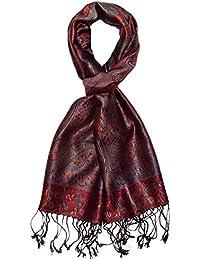 LORENZO CANA - Luxus Seidenschal Schal 100% Seide jacquard gewebt harmonische Farben mit Fransen 35 x 160 cm Paisley Muster Seidentuch