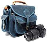 PURPLE RELIC: Vintage Leder Kompakt DSLR Kameratasche; Crossbody; Passend für DSLR mit Objektiv für Nikon D3200, Canon 1200D, Sony A7;