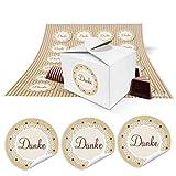 24 kleine weiße Geschenkboxen Geschenkverpackung Geschenkschachteln 8 x 6,5 x 5,5 + braun beige creme-farbene Aufkleber Text DANKE Spitze, Mini Schachteln für Gastgeschenke zum Befüllen