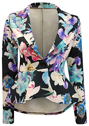 Damen Celeb Kim Kardashian Floral Square Neck Sleeveless Bodycon-Partei-Kleid (EU42-UK14, Black Floral Blazer) (Square-neck Floral)