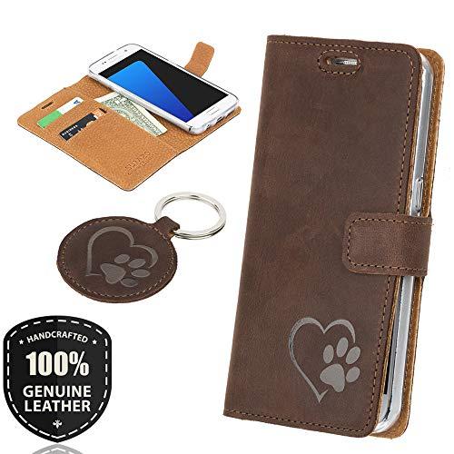 SURAZO Graphit Hundeherz - Premium Vintage Ledertasche Schutzhülle Wallet Case aus Echtesleder Nubukleder Farbe Nussbraun für Lenovo/Motorola Moto G5 Plus (5,20 Zoll)