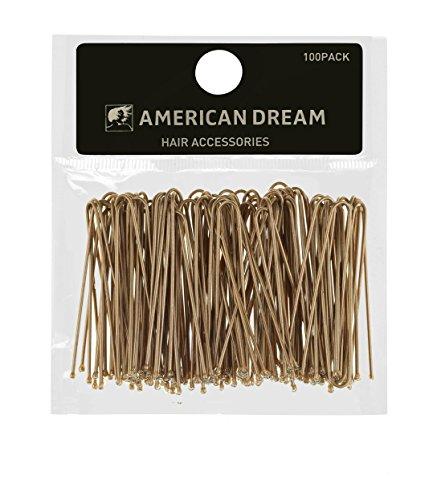 AMERICAN DREAM Pack of 100 x Haarklammern - blond - glatt - 2 inch/5 cm Länge, 1er Pack (1 x 60 g)