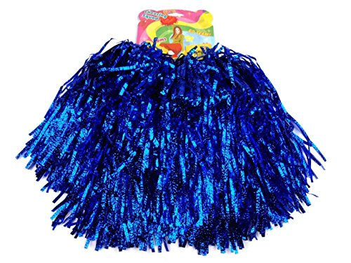 2 Stück Pompons Cheerleading Cheerleader Tanzwedel Puschel 1 Paar viele Farben (Blau)