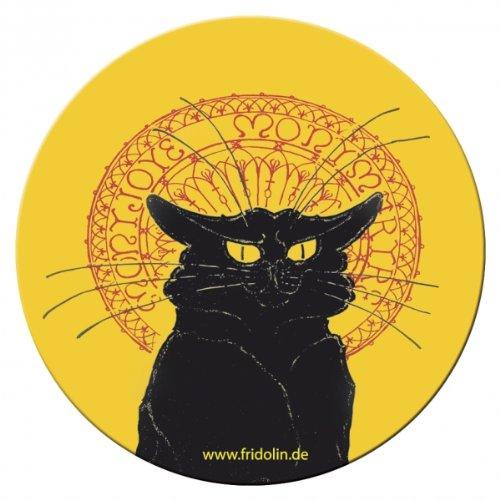'FRIDOLIN Taschenspiegel, 7,6cm'Jugendstil: Katze schwarz aus Metall
