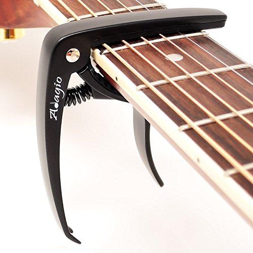 Adagio Pro Deluxe Kapodaster für Akustik- und E-Gitarren mit Quick Release und Peg Abzieher in schwarz RRP £ 10.99–Retail verpackt