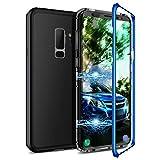 CE-Link Samsung Galaxy S9 Plus Hülle Glas mit Magnetisch Panzerglas Durchsichtig Handyhülle Transparent Ultra Slim Dünn 360 Grad Schutzhülle Bumper Schutz - Blau + Schwarz