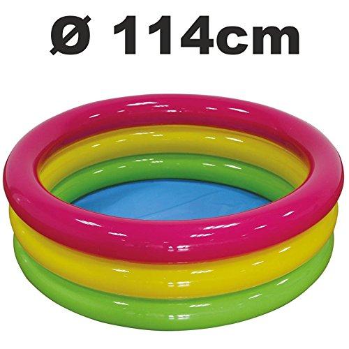 3-Ring Pool Planschbecken Kinder Schwimmbecken Kinderbecken Bunt (Ø 114 x 35cm)