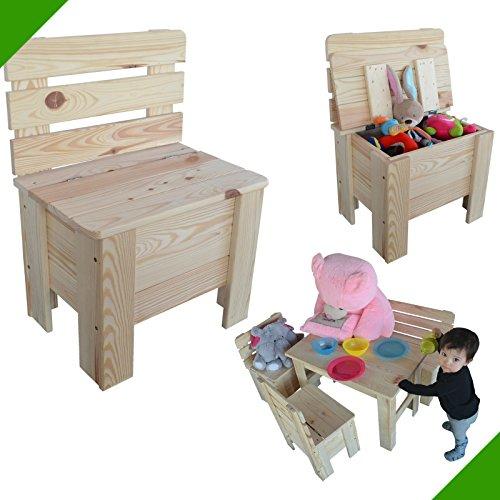 Chaise enfant en bois chaise Chaise de jardin coffre de rangement pin massif chaise en bois