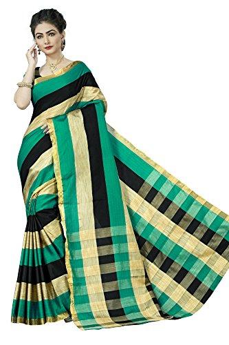 Jaanvi Fashion Women's Cotton Silk Saree (Green)