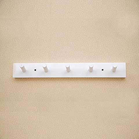En la pared Hook Up suspensión de la pared Cuelgue creativo de madera maciza de ropa Cap Estante ( Color : Blanco )
