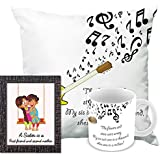 Printelligent Rakhi Gift For Sister. Raksha Bandhan Themed Combo Of Frame (5 X 7Inch) Ceramic Coffee Mug & Cushion Cover With Filler Gift
