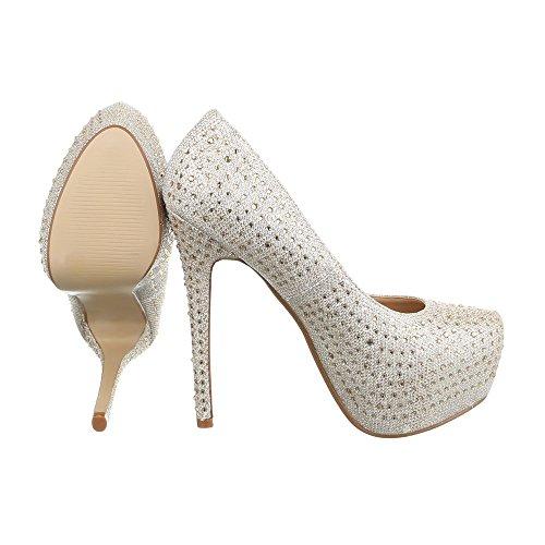 8327–1C femme chaussures, escarpins femme Gold EK-105