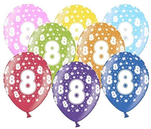 Libetui 10 kunterbunte Luftballons Metallic 30cm Deko für 8. Geburtstag Party Kindergeburtstag Happy Birthday Dekoration Nummer 8