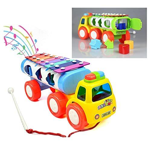Itian 3 in 1 Kinder Traktor Kunststoff-Spielzeug-Xylophon mit Musik Form Sorter (Blau/Grün Farbe gelegentlich)
